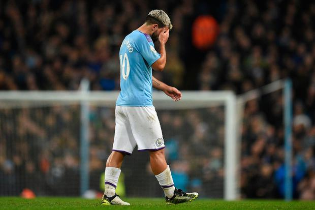Manchester City's Sergio Aguero leaves the pitch after appearing to pick up an injury during their clash with Chelsea at the weekend. Photo: OLI SCARFF/AFP via Getty Images