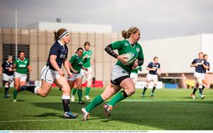 Niamh Briggs, Ireland, goes over to score her side's first try. Women's Six Nations Rugby Championship, Scotland v Ireland. Broadwood Stadium, Clyde FC, Glasgow, Scotland. Picture credit: Stephen McCarthy / SPORTSFILE