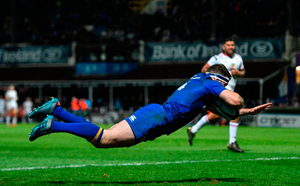 Fergus McFadden on his way to scoring Leinster's fourth try against Ulster Photo: Ramsey Cardy. Photo: Ramsey Cardy/Sportsfile
