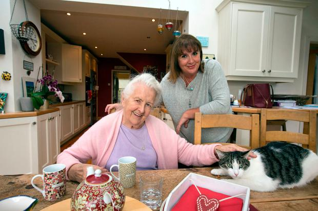 Mother knows best: Barbara Scully with her mother Noirin in Barbara's home. Photo: Mark Condren