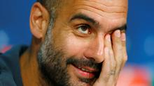Bayern's head coach Pep Guardiola looks a little exasperated during yesterday's press conference at the Allianz Arena