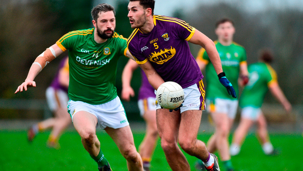 Glen Malone of Wexford in action against Michael Newman of Meath