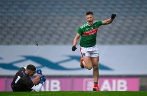 Cillian O'Connor of Mayo celebrates after scoring his side's second goal during the GAA Football All-Ireland Senior Championship Semi-Final match against Tipperary. Photo by Ramsey Cardy/Sportsfile
