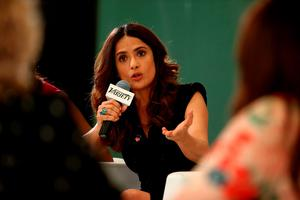 Actress Salma Hayek speaks onstage during the Variety and UN Women's panel discussion on gender equality at 68th Cannes Film Festival at Radisson Blu on May 16, 2015 in Cannes, France.  (Photo by Andreas Rentz/Getty Images for Variety)