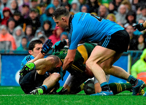 Dublin duo Philly McMahon (right) and Rory O'Carroll in action against Kieran Donaghy DAVID MAHER/SPORTSFILE