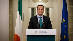 Defining moment: Taoiseach Leo Varadkar addresses the nation from Government Buildings at the start of the lockdown in March. Photo: Mark Condren