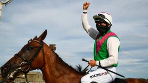 Patrick Mullins celebrates after victory in the Guinness Galway Hurdle Handicap on Aramon. Photo: Sportsfile