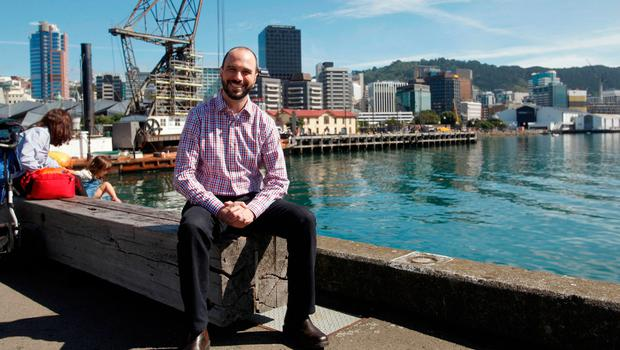 Tech developer Nick Piesco poses for a photo in Wellington, New Zealand Friday, March 10, 2017. Local authorities and businesses are offering free trips to New Zealand for 100 tech workers from around the globe as they seek to boost the city's growing tech hub. (AP Photo/Nick Perry)