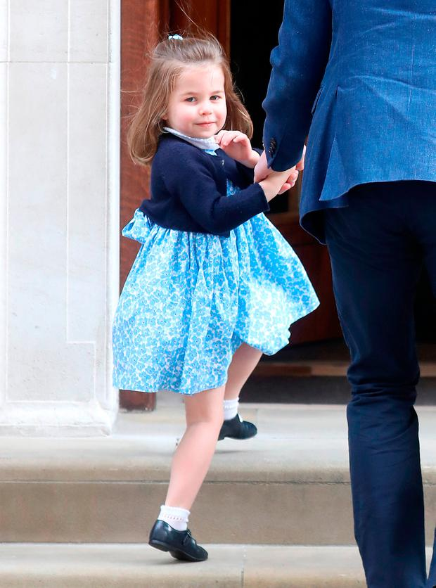 Princess Charlotte of Cambridge arrives with Prince William, Duke of Cambridge and Prince George of Cambridge at the Lindo Wing after Catherine, Duchess of Cambridge gave birth to a son at St Mary's Hospital on April 23, 2018