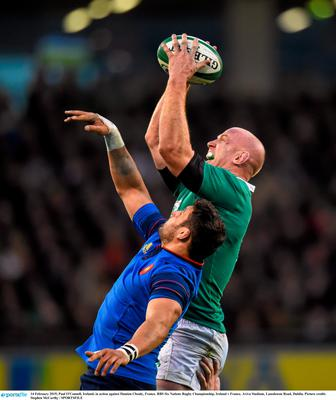 14 February 2015; Paul O'Connell, Ireland, in action against Damien Chouly, France. RBS Six Nations Rugby Championship, Ireland v France. Aviva Stadium, Lansdowne Road, Dublin. Picture credit: Stephen McCarthy / SPORTSFILE