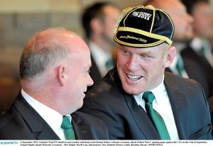 4 September 2011; Ireland's Paul O'Connell in conversation with head coach Declan Kidney welcome ceremony ahead of their Pool C opening game against the USA on the 11th of September. Ireland Rugby Squad Welcome Ceremony - 2011 Rugby World Cup, Queenstown, New Zealand. Picture credit: Brendan Moran / SPORTSFILE