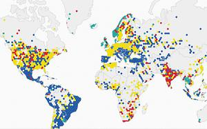 Varied: The locations of Premier League supporters from around the world Photo: TWITTER