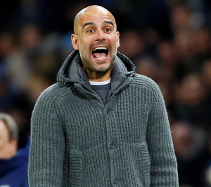 Manchester City manager Pep Guardiola is trying to play down expectations as City chase the quadruple
