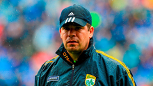 Kerry manager Eamonn Fitzmaurice looks on in the rain at Croke Park yesterday