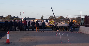 The farmer protest on the M11 construction site.