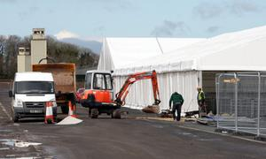 Marquees are erected at the new site for the Balmoral show, at its new home the site of the former Maze prison.