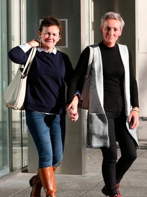 Stephanie and her sister Deirdre pictured leaving the Central Criminal Court after the sentencing of Bartholomew Prendergast. Photo: Collins