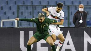 Aaron Connolly shields the ball from Strahil Popov during Ireland's Nations League clash against Bulgaria. Photo by Alex Nicodim/Sportsfile
