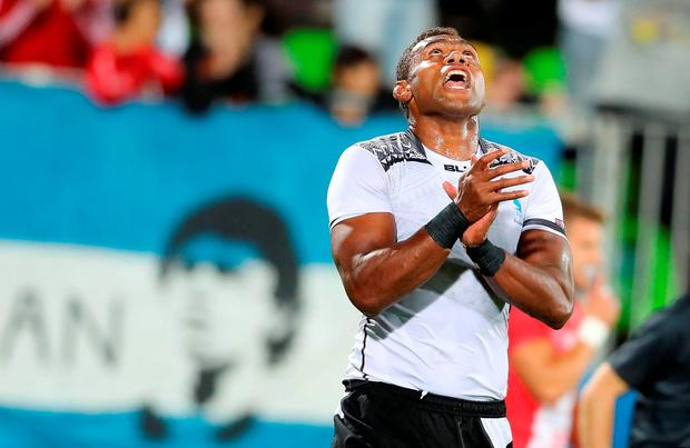 Fiji's Leone Nakarawa celebrates scoring his side's fourth try during the Rugby Sevens Men's Gold Medal Match between Fiji and Great Britain at the Deodoro Stadium on the sixth day of the Rio Olympic Games, Brazil. PRESS ASSOCIATION Photo. Picture date: Thursday August 11, 2016. Photo credit should read: Owen Humphreys/PA Wire. RESTRICTIONS - Editorial Use Only.