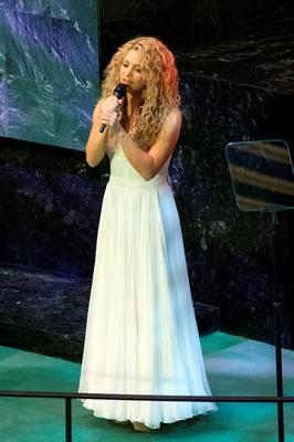 Colombian singer and UNICEF Goodwill Ambassador Shakira sings at the opening of the UN Sustainable Development Summit 2015 in New York