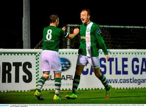 11 September 2015; Bray Wanderers' David Scully right, celebrates with team-mate David Cassidy after scoring his side's second goal. Irish Daily Mail FAI Senior Cup, Quarter-Final, Bray Wanderers v Killester United, Carlisle Grounds, Bray, Co Wicklow. Picture credit: Piaras ? M?dheach / SPORTSFILE