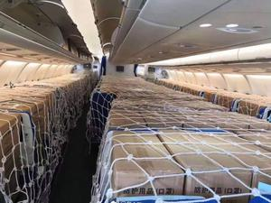Mercy mission: Supplies aboard the Aer Lingus flight from China. Photo: @snoopdogmoll