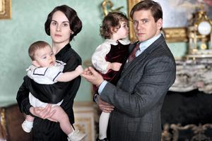 Lady Mary played by Michelle Dockery with Baby George and Tom Branson played by Allen Leech with baby Sybbie - after five successful series, Julian Fellowes's hit drama 'Downton Abbey' will return for a sixth series, ITV and Carnival Pictures have announced