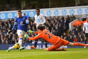 Tottenham Hotspur's goalkeeper Hugo Lloris (R) saves a shot from Everton's Kevin Mirallas