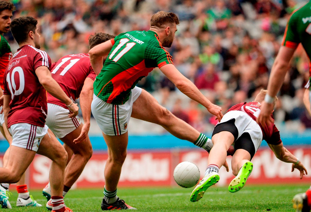 Aidan O'Shea of Mayo has his goal bound shot blocked by of Westmeath's Killian Daly on Saturday. Photo: Oliver McVeigh/Sportsfile