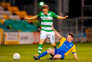 Simon Madden is stopped in his tracks by Bray's Adam Hanlon