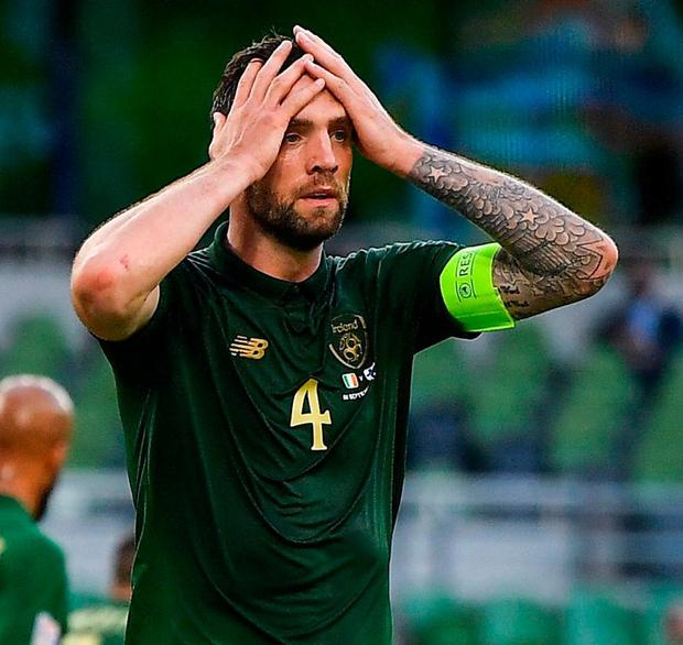 Shane Duffy of Republic of Ireland reacts after heading over at a corner. Photo: Sportsfile