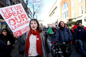 Olwen NiCheallaigh on the Irish Language march through Dublin City centre. Picture: Gerry Mooney