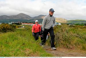 28 May 2015; Martin Kaymar, right, and Rory McIlroy make their way to the 11th fairway. Dubai Duty Free Irish Open Golf Championship 2015, Day 1. Royal County Down Golf Club, Co. Down. Picture credit: Ramsey Cardy / SPORTSFILE
