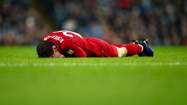 Andrew Robertson of Liverpool reacts during the Premier League match between Manchester City and Liverpool FC on January 3, 2019. (Photo by Robbie Jay Barratt - AMA/Getty Images)
