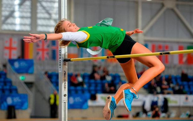 Ciara Kennelly, of Fossa, Co Kerry, in the high jump event during the Aldi Community Games Festival 2017 at the National Sports Campus in Dublin. Photo: Sam Barnes/Sportsfile