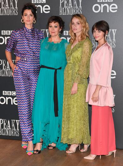"""Natasha O'Keeffe, Helen McCrory, Sophie Rundle and Charlene McKenna attend the """"Peaky Blinders"""" BFI TV Preview at BFI Southbank on July 23, 2019 in London, England. (Photo by Stuart C. Wilson/Getty Images)"""