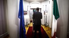 In the spotlight: Taoiseach Leo Varadkar making his address to the nation from Government Buildings. Photo: Mark Condren