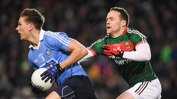 4 March 2017; Michael Fitzsimons of Dublin in action against Andy Moran of Mayo during the Allianz Football League Division 1 Round 4 match between Dublin and Mayo at Croke Park in Dublin. Photo by Brendan Moran/Sportsfile
