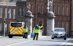 08/04/2020 Gardai conduct a COVID-19 checkpoint in Phoenix Park, Dublin this afternoon after they received new powers in the wake of a slippage in the no travel rules...Picture Colin Keegan, Collins Dublin