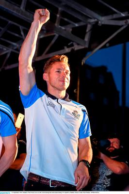 21 September 2015; Dublin's Paul Flynn waves to the crowd during the team homecoming. O'Connell St, Dublin. Picture credit: Paul Mohan / SPORTSFILE