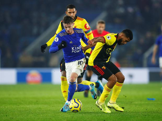 Leicester City's James Maddison in action with Watford's Adrian Mariappa and Etienne Capoue. Photo: Eddie Keogh/Reuters