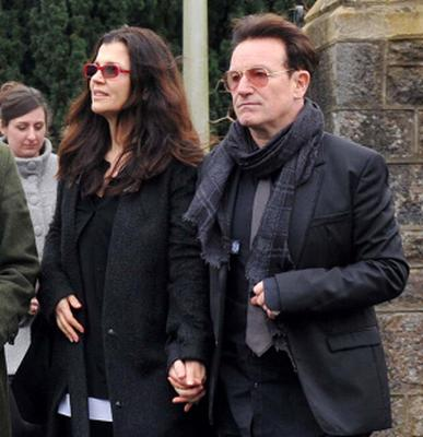 Bono and Ali Hewson at the funeral