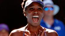 Venus Williams celebrates after defeating Coco Vandeweghe during their semifinal at the Australian Open tennis championships in Melbourne (AP Photo/Dita Alangkara)