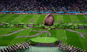 A giant mocj rugby rugby ball at the opening ceremony for the Rugby World Cup AFP PHOTO / GABRIEL BOUYS