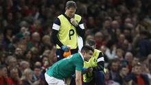 CARDIFF, WALES - MARCH 10:  Conor Murray of Ireland is given treatment during the Six Nations match between Wales and Ireland at the Principality Stadium on March 10, 2017 in Cardiff, Wales.  (Photo by David Rogers/Getty Images)