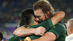 Springboks Damian De Allende and RG Snyman. Photo: Cameron Spencer/Getty Images