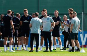 LAST HURRAH: Gareth Southgate and his coaching staff with the England squad. Photo: Lee Smith/Reuters