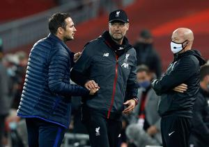 Liverpool manager Jurgen Klopp and Chelsea boss Frank Lampard had a touchline row during the Reds' 5-3 win on Wednesday night. Photo: Phil Noble/NMC Pool/PA Wire.