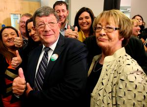 Sinn Fein candidate for West Tyrone Pat Doherty celebrates with supporters following the announcement of his re-election with 16,807 votes at the Omagh Leisure centre, Omagh. PRESS ASSOCIATION Photo. Picture date: Friday May 8, 2015. See PA story ELECTION Ulster. Photo credit should read: Brian Lawless/PA Wire