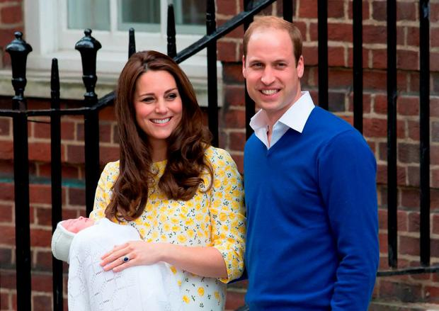 The Duke and Duchess of Cambridge with baby daughter Charlotte Elizabeth Diana. Photo: PA